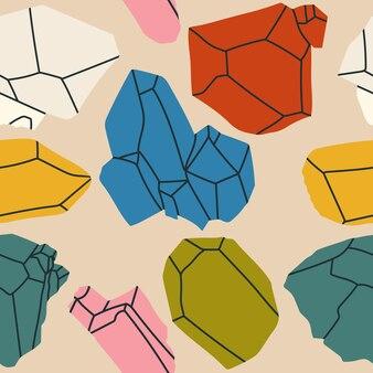 Nahtloses muster der hand gezeichneten edelsteine