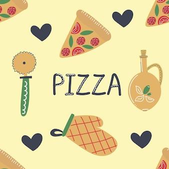 Nahtloses muster der hand gezeichneten pizza, die elemente flache illustration herstellt