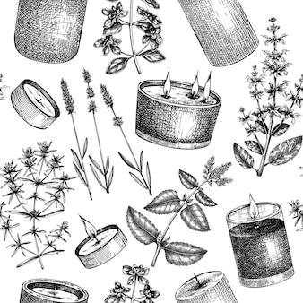 Nahtloses muster der handgemachten kerzen handskizzierter aromatischer und medizinischer kräuterhintergrund