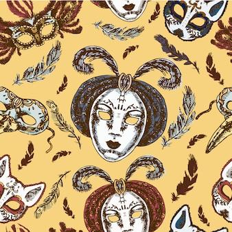Nahtloses muster der handgemachten vollen gesichtsmaske der venetianischen pappmaché des karnevals mit federn
