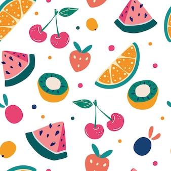 Nahtloses muster der hellen frucht im handgezeichneten stil. vektorwiederholungshintergrund für bunten sommerstoff. cartoon-frucht-hintergrund. perfekt für die textilherstellung von tapetenplakaten etc.
