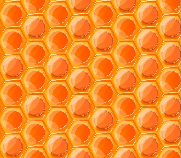 Nahtloses muster der hellen orange geschmackvollen honigbienenwaben