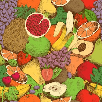 Nahtloses muster der hellen saftigen frischen früchte
