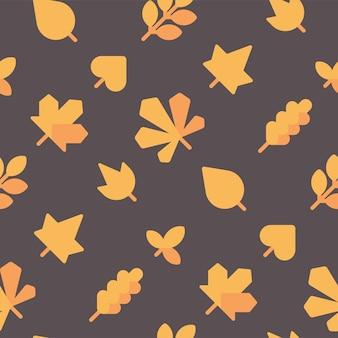 Nahtloses muster der herbstblätter. fall lässt flachen ikonenhintergrund