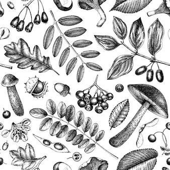 Nahtloses muster der herbstwaldpflanzen. hintergrund mit pilzen, blättern, nüssen, beeren skizzen. vintage herbstsaison. botanische illustrationen. erntedankfest vorlage.