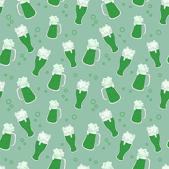 Nahtloses muster. der hintergrund mit der brille. schaumiges getränk. vektor-illustration. lager vektor. bier. das grüne muster.