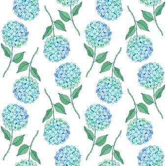 Nahtloses muster der hortensie-blume. blaugrüne blütenblätter, stiel und blätter auf weiß. vektortextur für druck, stoff, textil, tapete.