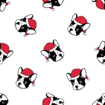 Nahtloses muster der hundefranzösischen bulldogge weihnachten santa claus