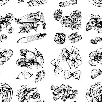 Nahtloses muster der italienischen teigwarenskizze. hand gezeichnete vektorillustration des makkaronis. skizze nahtlose muster von nudeln.