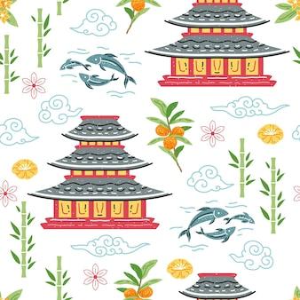 Nahtloses muster der japanischen pagode für tapetendesign