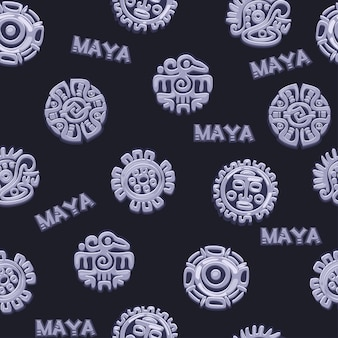 Nahtloses muster der karikatur altes mexikanisches mythologiesymbol, verschiedene amerikanische aztekische symbole, gebürtiges totem der mayakultur. vektorsymbole.