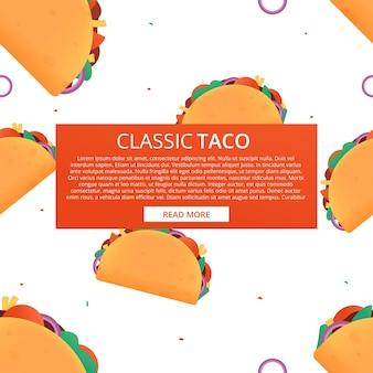 Nahtloses muster der karikatur auf weißem hintergrund. design-abbildung. .tacos-vektor-textur. traditionelles mexikanisches fastfood. taco dienstag.