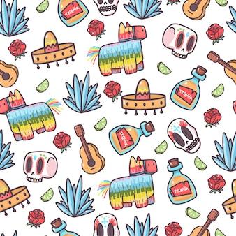Nahtloses muster der karikatur der netten elemente mexikos auf einem weißen hintergrund.
