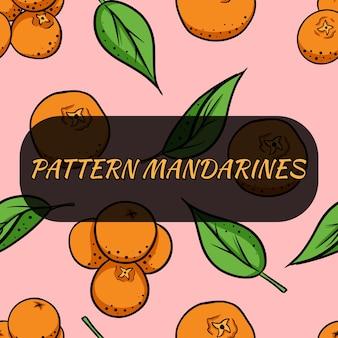Nahtloses muster der karikatur mit mandarinen.
