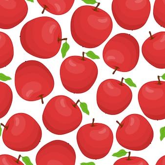Nahtloses muster der karikatur mit roten äpfeln