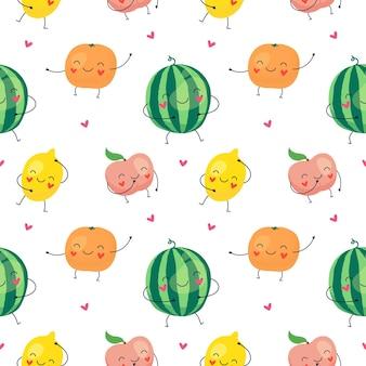 Nahtloses muster der karikatur von lustigen früchten, wassermelone, zitrone, pfirsich, orange.
