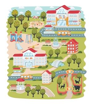 Nahtloses muster der karikaturkarte der kleinen stadt und der landschaft. landschaft.