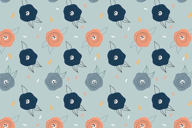 Nahtloses muster der karikaturpastellblumen. das muster eignet sich für postkarten, stoff, geschenkpapier oder poster