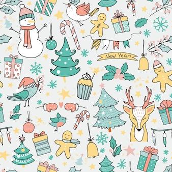 Nahtloses muster der karikaturweihnachtszeit