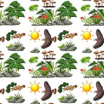 Nahtloses muster der karikaturwildtiere mit vielen verschiedenen wilden tieren und pflanzen