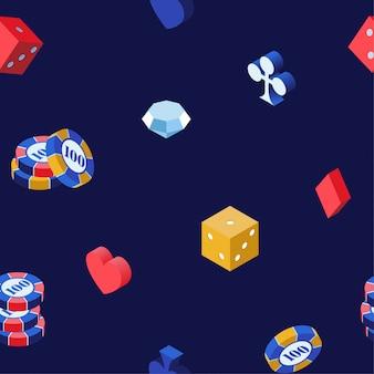 Nahtloses muster der kasinospiele 3d
