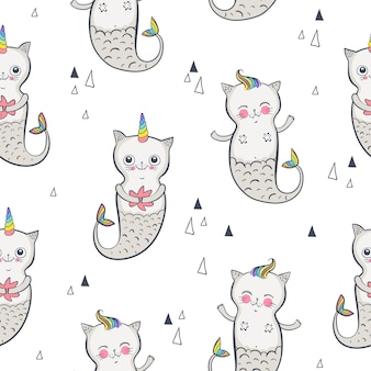 Nahtloses muster der katze-meerjungfrau. glückliche zwillinge. vektor-illustration eps 10