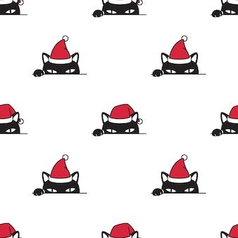 Nahtloses muster der katze mit weihnachtsthema