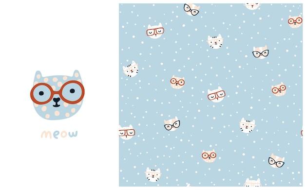 Nahtloses muster der katze süße kätzchen mit brille kindergartenfiguren in einem einfachen handgezeichneten