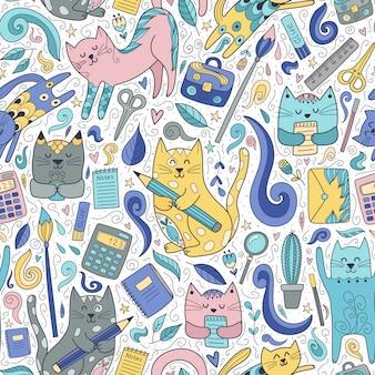 Nahtloses muster der katzen und der stifte. lustige schule
