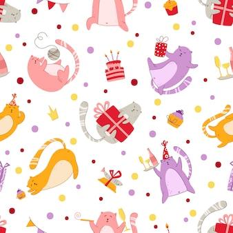 Nahtloses muster der katzengeburtstagsfeier - lustiges kätzchen in festlichem hut, geschenkboxen und fahnen, geburtstagstorte