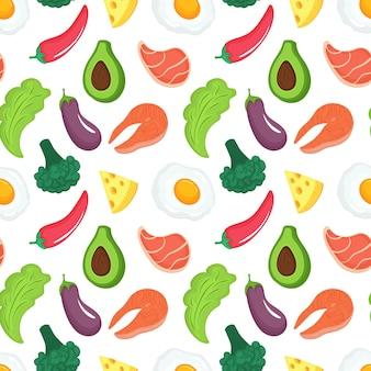 Nahtloses muster der keto-diät. ketogenes essen mit bio-gemüse, fleisch und fisch. low-carb-ernährung. paleo-protein und fett