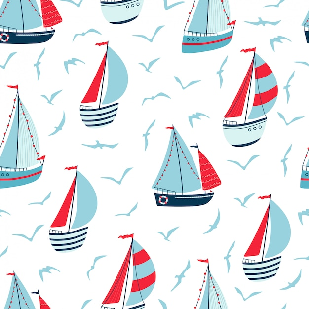 Nahtloses muster der kinder mit segelbooten, yachten und möwen auf weißem hintergrund. nette textur für kinderzimmerdesign.