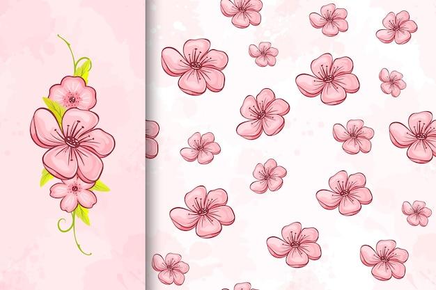 Nahtloses muster der kirschblüte und blumenillustration