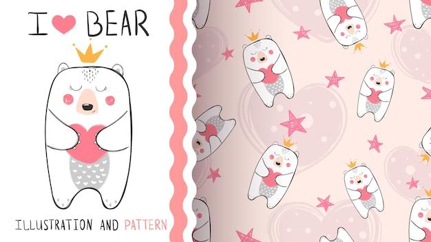 Nahtloses muster der kleinen bärn-prinzessin