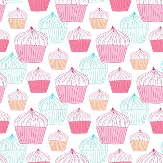 Nahtloses muster der kleinen kuchen. süßigkeiten hintergrund für menü dekoration, packpapier oder textildesign