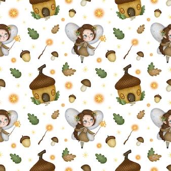 Nahtloses muster der kleinen waldfeen des niedlichen cartoons. märchenelfenmädchen mit einem zauberstab, haus eichel.