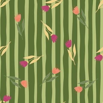 Nahtloses muster der kleinen wildblumen auf streifenhintergrund auch im corel abgehobenen betrag.