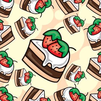 Nahtloses muster der köstlichen kuchen der karikatur