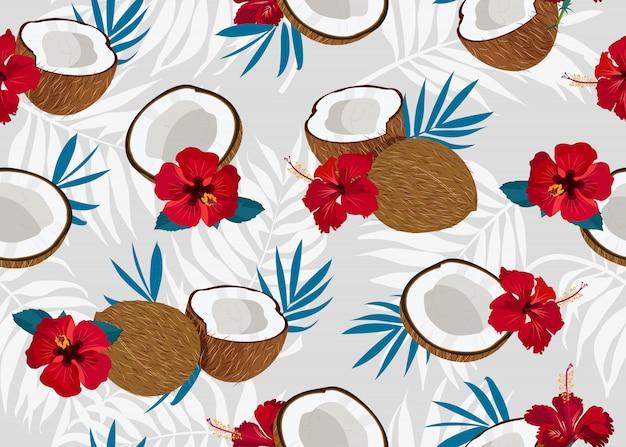 Nahtloses muster der kokosnuss mit blume