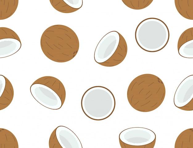 Nahtloses muster der kokosnussfrucht