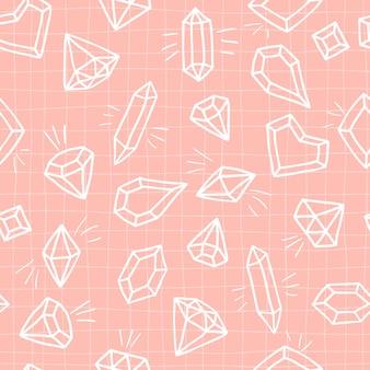 Nahtloses muster der kristalle auf einem rosa karierten hintergrund. handgezeichnete skizze diamanten und edelsteine.