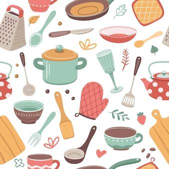 Nahtloses muster der küchenelemente