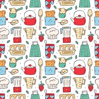 Nahtloses muster der küchenkarikaturelemente