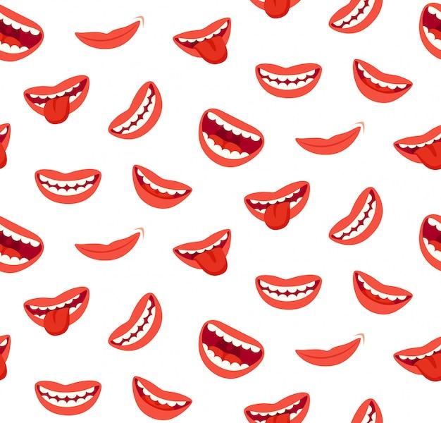 Nahtloses muster der lächelnden lippen der karikatur