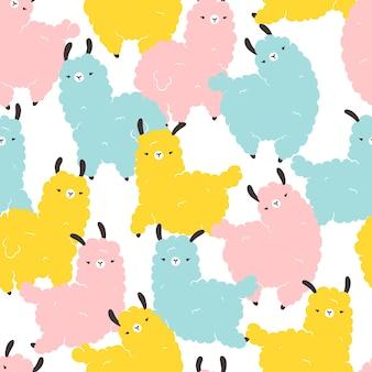 Nahtloses muster der lamas. bunte zeichentrickfigur im skandinavischen stil einfache handgezeichnete kindische art isoliert auf weißem hintergrund. ideal für kinderzimmer, babykleidung, textilien, stoffe, verpackungen.