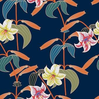 Nahtloses muster der lilie mit modischem farbfrühling