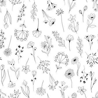 Nahtloses muster der linie kunstblumenelemente. hintergrund mit gezeichneten umrisslaub natürlichen blättern kräuter. handgezeichnete botanische vektorillustration der blume.