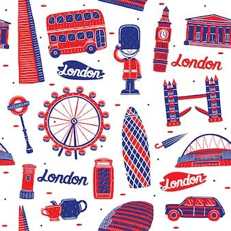Nahtloses muster der londoner stadt mit marksteinelementen