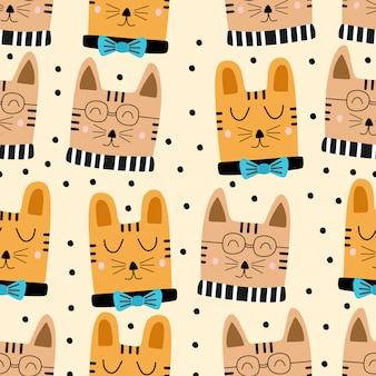 Nahtloses muster der lustigen kindischen katzenkarikatur