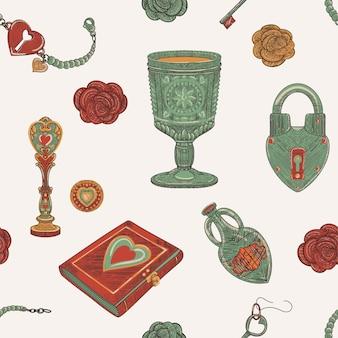 Nahtloses muster der magie der liebe des vintage alten schulobjekts, handgezeichnete illustration